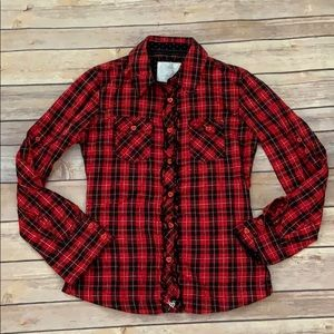 Justice Red Plaid Top
